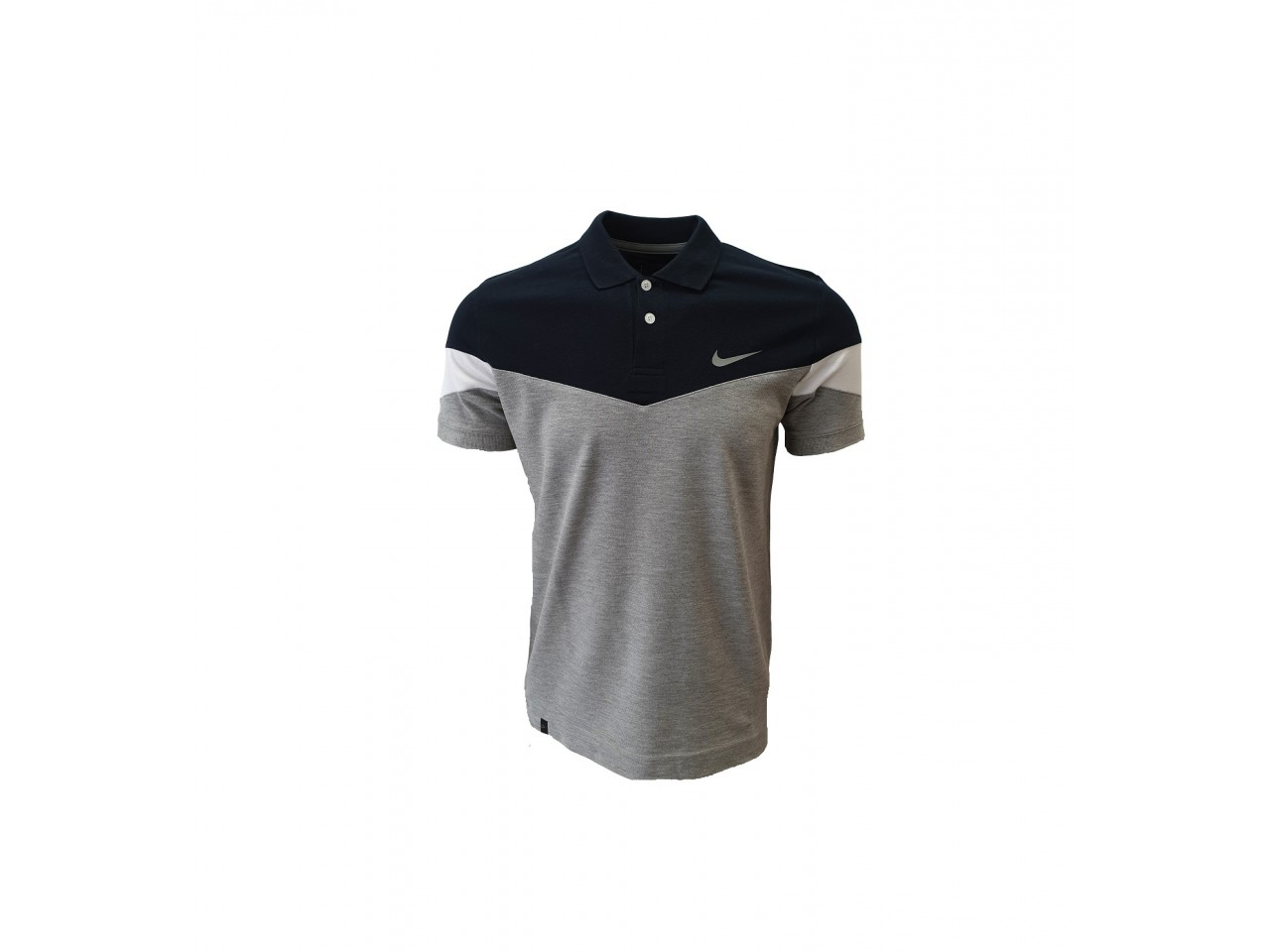 Nike Polo T-Shirt Light Grey Dark Blue