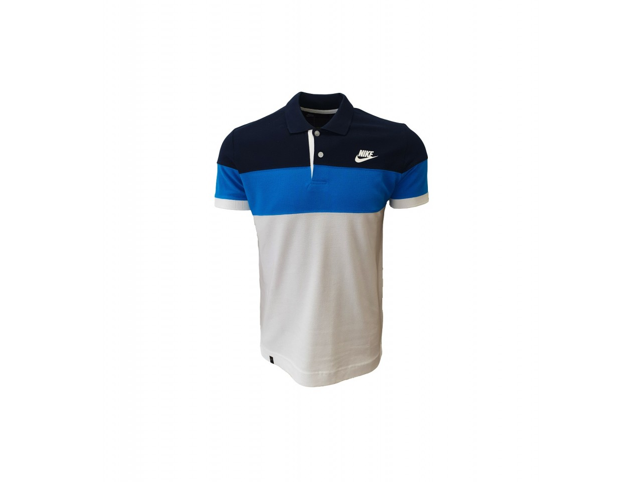 Nike Polo T-Shirt White Dark Blue Light Blue