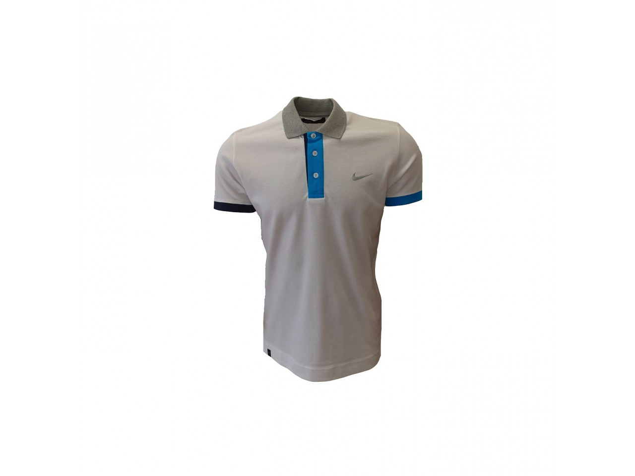 Nike Polo T-Shirt White Light Blue Light Grey